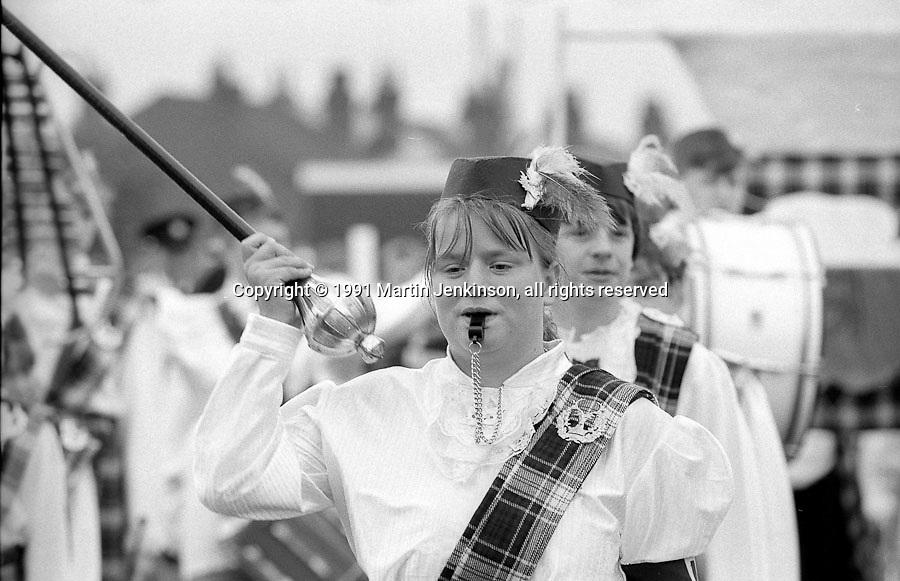 Sherburn Highlanders Jazz Band. 1991 Yorkshire Miners Gala. Doncaster.