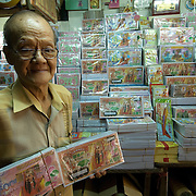 Small stall which sells imitation paper money used at festivals and funerals.