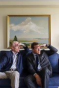 New York, New York - May 30, 2014: Bill Geist and his son Willie Geist sit for a portrait in the elder's Central Park West apartment. The duo co-wrote a father-son memoir &quot;Good Talk, Son.&quot; Bill Geist is a journalist for CBS: Sunday Morning and Willie Geist is a Today Show Host.<br />