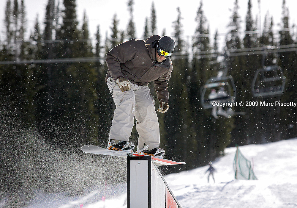 SHOT 2/6/09 12:01:35 PM - Marc Piscotty of Denver, Co. snowboarding at the Catalyst Terrain Park at Copper Mountain, Co. <br /> (Photo by Chris Schneider / &copy; 2009)