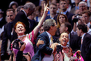 """September 3, 2008- Members of the group """"Code Pink"""" disrupt Republican Vice Presidential nominee Sarah Palin's speech during day 3 of the 2008 Republican National Convention at the Excel Center in St. Paul, Minnesota...."""