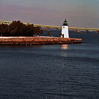 The Newport Harbor Lighthouse, The lighthouse stands on Goat Island.