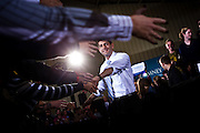 Republican vice presidential candidate Rep. Paul Ryan arrives at a campaign rally at Baldwin Wallace University in Berea, Ohio, October 17, 2012.
