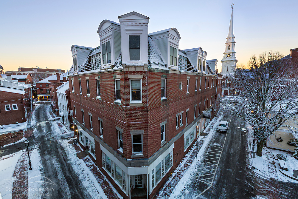 Ladd and High Streets in Portsmouth, New Hampshire. Winter.