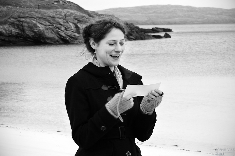 Vanessa's reading at Jan & Carrie's wedding on Vatersay Beach