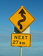 Twisty Road signs - Great Ocean Road Scenery .Victoria .4th of May 2005.(C) Joel Strickland Photographics.Use information: This image is intended for Editorial use only (e.g. news or commentary, print or electronic). Any commercial or promotional use requires additional clearance.