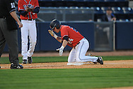 Mississippi's Miles Hamblin hits a triple against Florida  at Oxford-University Stadium on Friday, March 26, 2010 in Oxford, Miss. Ole Miss won 3-2.