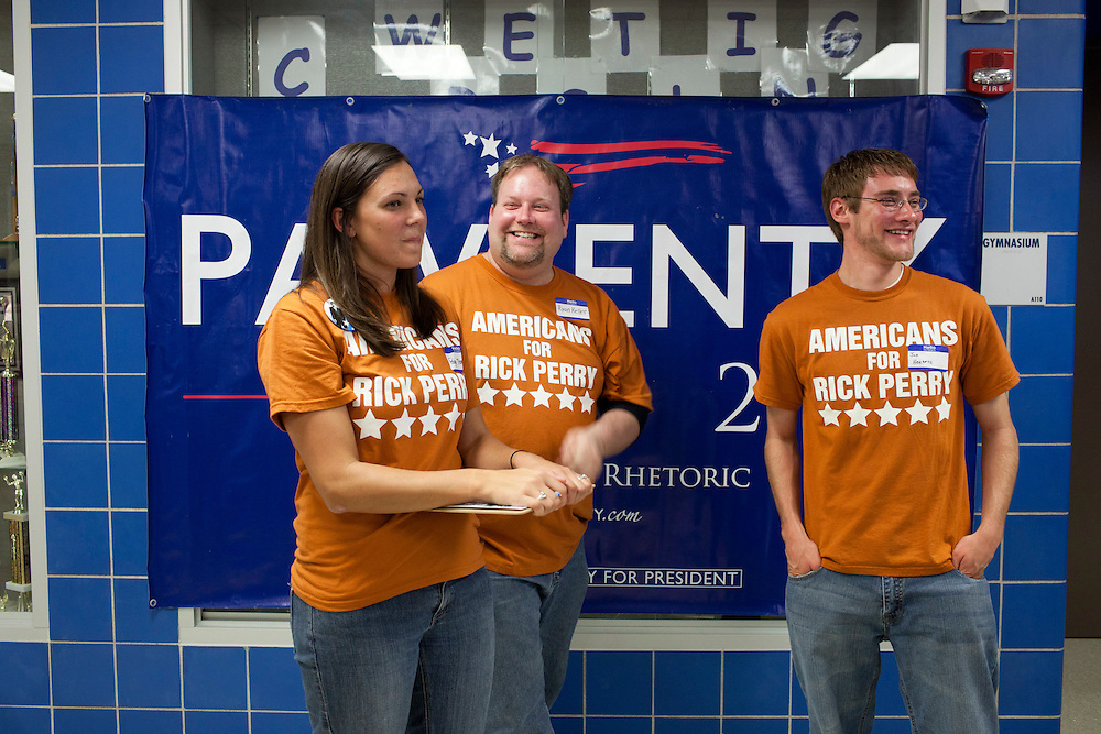 Supporters of undeclared Republican presidential candidate Rick Perry at a fundraiser for the Linn County Republican Party on Friday, August 5, 2011 in Tiffen, IA.