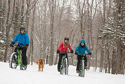 Fat tire biking on a snowy winter day in New Hampshire's White Mountains.