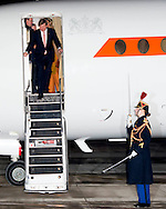 King Willem-Alexander and Queen Maxima of The Netherlands arrive at the airport Velizy-Villacoublay in Paris, France, 9 March 2016. The King and the Queen are in France for an state visit 10 and 11 March. Photo: Robin Utrecht