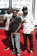 June 30, 2012-Los Angeles, CA : (L-R) Recording Artists Meek Mill, Wale, and Stalley attend the 2012 BET Awards held at the Shrine Auditorium on July 1, 2012 in Los Angeles. The BET Awards were established in 2001 by the Black Entertainment Television network to celebrate African Americans and other minorities in music, acting, sports, and other fields of entertainment over the past year. The awards are presented annually, and they are broadcast live on BET. (Photo by Terrence Jennings)