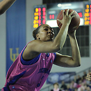 Delaware Guard Jaquetta May (3) attempts a lay-up in the first half of a regular season NCAA basketball game against James Madison Sunday, Feb 24, 2013 at the Bob Carpenter Center in Newark Delaware...Delaware (24-3; 15-0) defeated James Madison (18-9; 13-3) 61-60