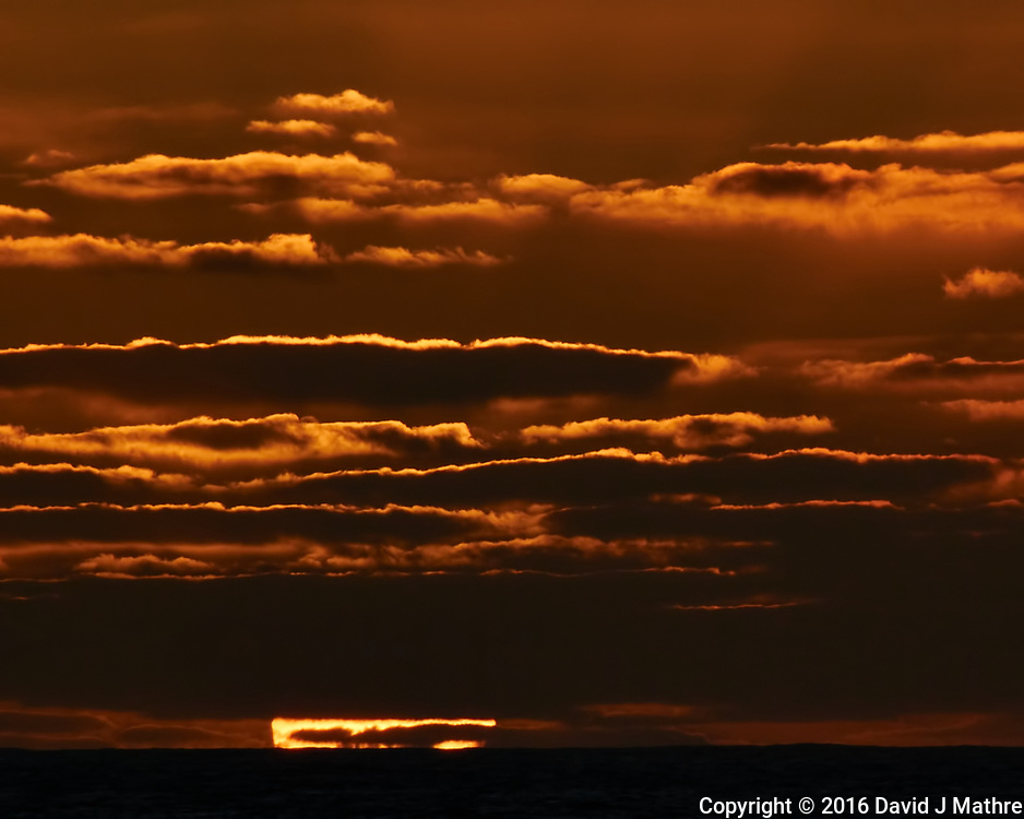 Sun setting over the Pacific Ocean from the deck of the MV World Odyssey. Semester at Sea, 2016 Spring Semester Voyage. Day 2 of 102. Image taken with a Nikon 1 V3 camera and 70-300 mm VR lens (ISO 200, 300 mm, f/16, 1/200 sec).