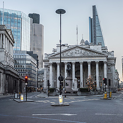 London, UK - 25 December 2014: The Bank of England and Bank in London on early Christmas morning.