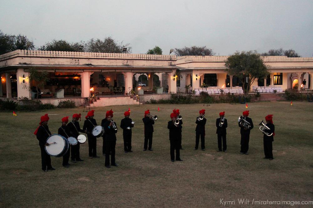 Asia, India, Jaipur. Band performance at Dera Amer elephant trek camp.