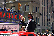 Dennis Eckersley at the Major League Baseball All-Stars and 49 Hall of Famers ride up Sixth Avenue in All Star-Game Red Carpet Parade Presented by Chevy on July 15, 2008