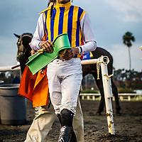 Jockey Edwin Maldenado on December 21, 2013 at Betfair Hollywood Park in Inglewood, California . The Track is set to close on December 22, 2013 after operating for 75 Years.(Alex Evers/ Eclipse Sportswire)