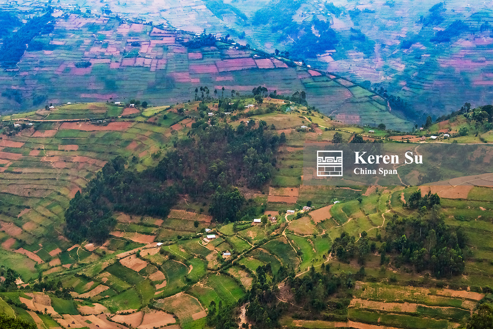 Terraced farmland and village houses in the mountain, southwest Uganda