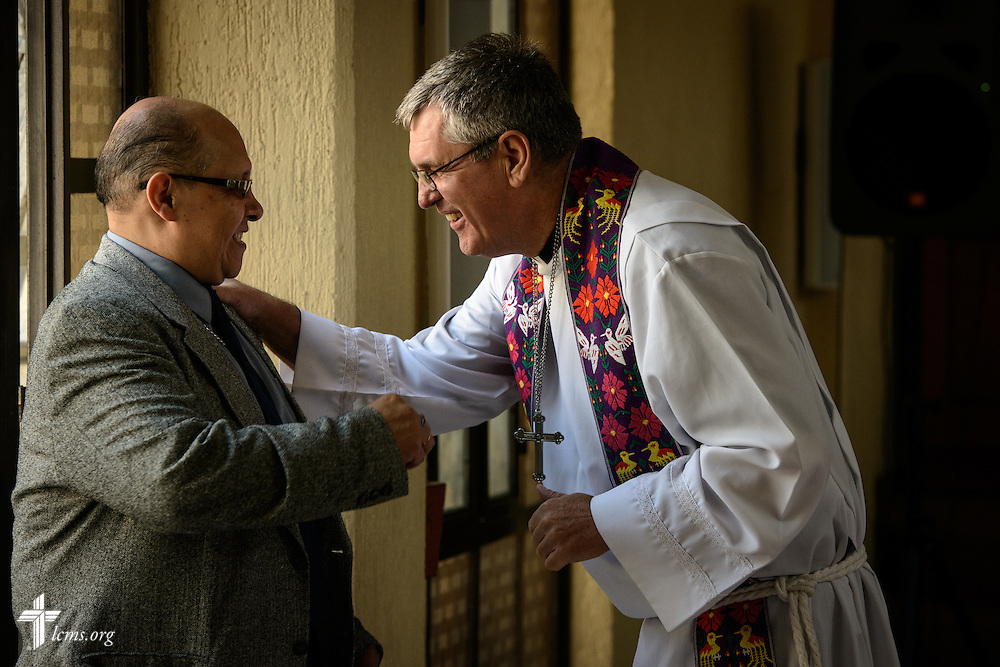 The Rev. Daniel Conrad, LCMS missionary to Mexico, greets worshippers at the Lutheran Church of San Pedro on Sunday, Feb. 14, 2016, in Mexico City, Mexico. LCMS Communications/Erik M. Lunsford