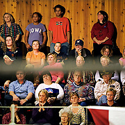 The audience listens to Barack Obama speak at Dunlap Livestock Auction during his campaign for the Democratic presidential nomination, Dunlap, Iowa, November 24, 2007.