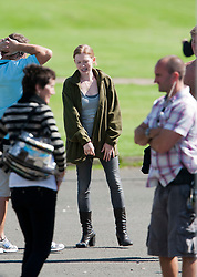 "Brad Pitt's co-star Mireille Enos on the set of the movie ""World War Z"" being shot today in Grangemouth, Scotland. The film, which is set in Philadelphia, is being shot in various parts of the Glasgow, transforming it to shoot the post apocalyptic zombie film.."