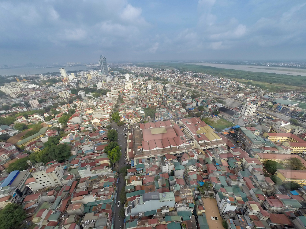 Aerial view of Hoan Kiem District in Hanoi, Vietnam, Southeast Asia