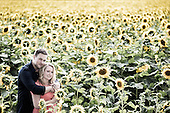 Sarah & Andrew, e-session in a field of sunflowers