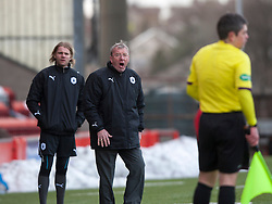 Alex Smith, Falkirk interim manager shouts at the linesman..Airdrie United 0 v 1 Falkirk, 30/3/2013..©Michael Schofield..