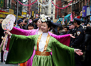 A Fan Dance display during the  Chinese Lunar New Year parade on Mott St in Chinatown this afternoon. ..Photo by Nancy Siesel