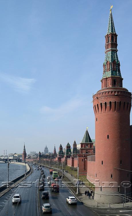Kremlin Wall, Kremlin towers, Moscow Russia.