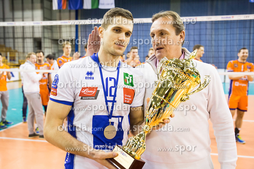 Second  placed Gregor Ropret of Hypo Tirol Volleyballteam with his father Metod Ropret, president of OZS at trophy ceremony after the volleyball match between Hypo Tirol Innsbruck and OK ACH Volley in Final of MEVZA Cup Men -Final Four, on March 12, 2016 in Hala Tivoli, Ljubljana, Slovenia. Photo by Vid Ponikvar / Sportida