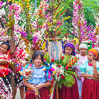 PANCHIMALCO , EL SALVADOR - MAY 08 : Salvadorian people participate in the procession of the Flower & Palm Festival in Panchimalco, El Salvador on May 08 2016