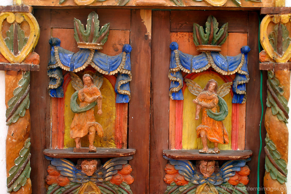 Americas, Mexico, Guanajuato. Detail of carved wood doors, traditional craftsmanship of San Miguel de Allende, in Guanajuato.