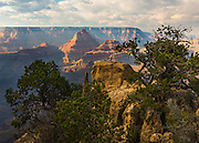 Vishnu Temple viewed from the South Rim of Grand Canyon National Park in Arizona.