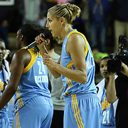 Chicago Sky Forward ELENA DELLE DONNE (11) addresses the fans after a WNBA preseason basketball game between the Chicago Sky and the New York Liberty Sunday, May. 01, 2016 at The Bob Carpenter Sports Convocation Center in Newark, DEL