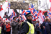 Far right anti Islamic group Britain First march and rally on Victoria Embankment in Central London, April 1 2017 photos Janine Wiedel