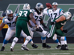 Nov 29, 2009; East Rutherford, NJ, USA; Carolina Panthers quarterback Jake Delhomme (17) throws a pass during the first half of their game against the New York Jets at Giants Stadium.