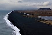 View of long black volcanic sandy beach west of Dyrhólaey, near Vík in southern Iceland