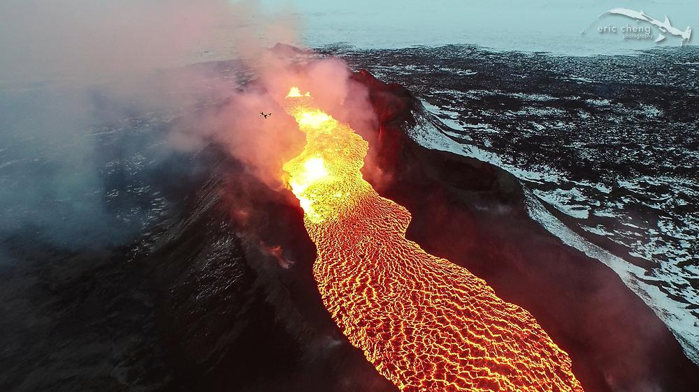 Aerial image of Holuhraun volcano eruption, Bardarbunga volcanic system, Iceland. Screenshot from 4K video taken using DJI Inspire 1. Photo by Eric Cheng / DJI and Ferdinand Wolf / Skynamic.