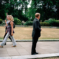 UK. London. From a story on Abingdon Street Gardens, a small patch of land, often referred to as College Green, that lies next to The Houses of Parliament in Westminster. It is a place where the media and the politicians come face to face. Interviews are held, photo shoots are set up and bewildered tourists stroll by..Photo shows Charles Kennedy, former Leader of The Liberal Democrats. .Photo©Steve Forrest/Workers Photos