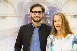 """London, September 18th 2015. Designers Laetitia de Allegri and Matteo Fogale present their installation """"Mise en Abyme"""", made of coloursed acryllic panels layered across the length of the V&A's Medieval Renaissance Bridge and presenting an interpretation of perspective in a three dimensional space. The Victoria and Albert museum celebrates the London Design Festival runs from 19 – 27 September  with a collection of conceptual installation artworks."""