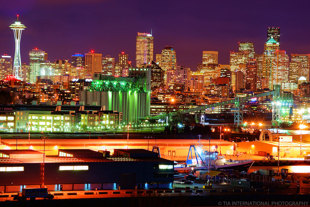Seattle Skyline featuring Pier 86 Grain Terminal & Smith Cove Waterway
