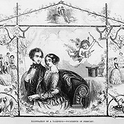 Vintage Illustration:  St. Valentine's Day 1854 with a couple and cupid nearby. Gleason's Pictorial 1854