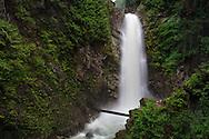 Cascade Falls from the first viewing platform in Cascade Falls Regional Park near Durieu, British Columbia, Canada