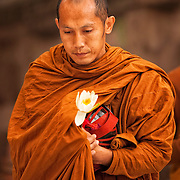 A Buddhist monk carrying a lotus blossom and his begging bowl at the Mahabodhi Temple, the site of the Buddha's enlightenment, at Bodhgaya India.