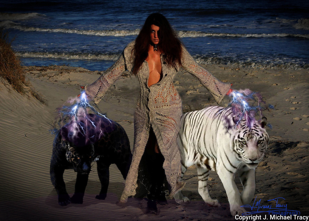 Red Witch with big cats on beach.