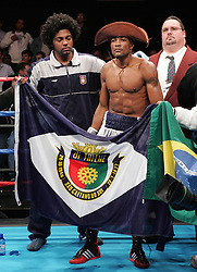 Valdemir Pereira before his fight against Phafrakorb Rakkietgym for the IBF Featherweight title fight at the Foxwoods Hotel and Casino.  Pereira captured the vacant title with a unanimous decision win.