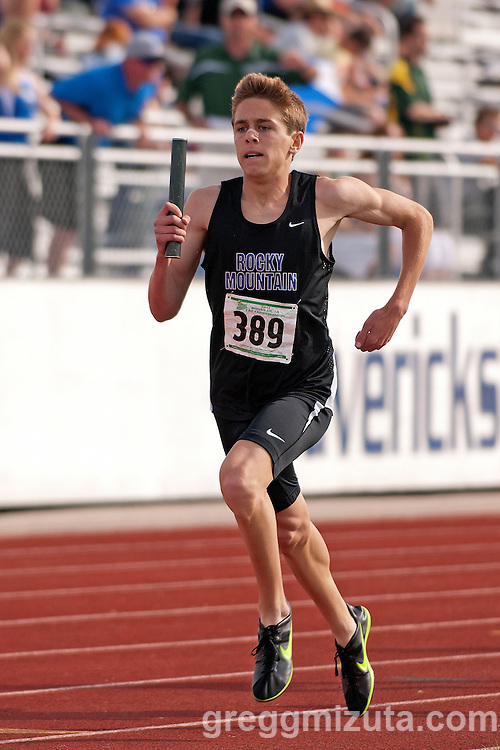 Rocky Mountain sophomore Justin Ross in the first leg of the 4x800 meter relay during the 5A District 3 meet on May 12, 2011 at Mountain View High School. Rocky Mountain (Justin Ross, Ian Cavey, Jordon Wallin, Josh Wallin) won the event in 7:59.23.