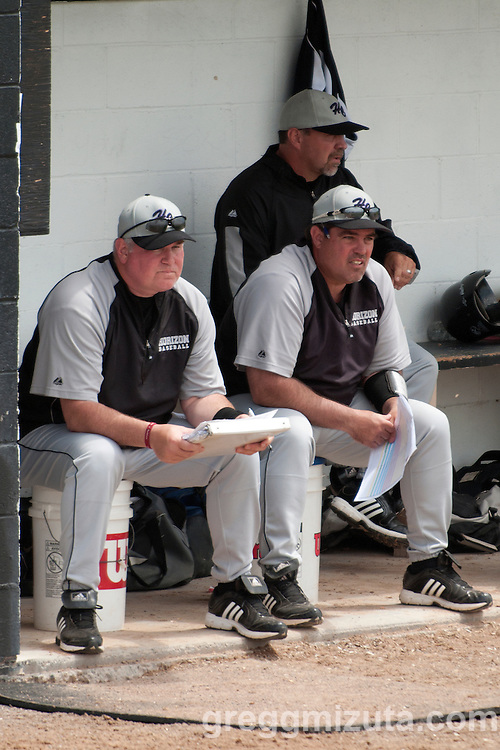 Horizon Christian coaches (L to R) Joe Monahan, Alex Esquerra, and Ray Pearson in the dugout during the 3A Oregon State Baseball Championships semifinals game between Horizon and Vale on May 31, 2011 at Cammann Field, Vale, Oregon.
