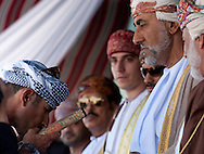 """15th February 2010. Muscat. Oman..Pictures of His Highness Syyid Shehab, Adviser to His Majesty. Shown here presenting the Quran to the crew of the """"Jewel of Muscat""""  during the departure ceremony today. As the traditional yacht starts her historic journey to Singapore."""